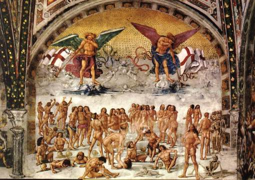 Luca Signorelli a vazut lucrurile asa cum le-a citit. Biblia nu prea lasa loc de interpretari!