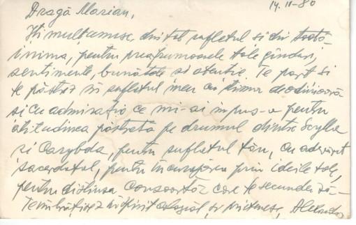 Cardinal Alexandru Todea, scrisoare 1980