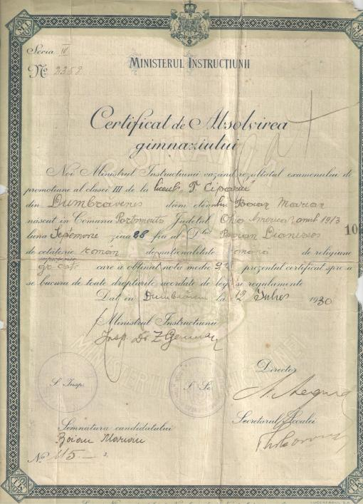 Certificat Gimnaziu fata