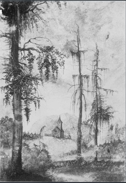 albrecht altdorfer peisaj alpin cu biserica 1522