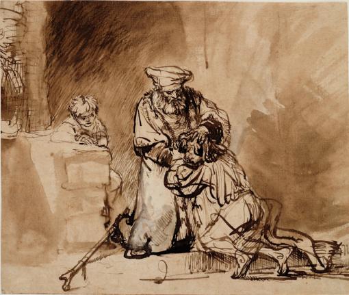 Intoarcerea Fiului Risipitor Rembrandt desen